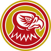 Falcon Head Side Circle Retro — Stock Vector