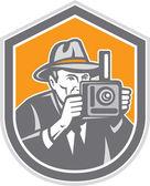 Photographer Vintage Camera Shield Retro — Stock Vector