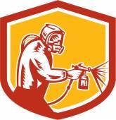 Spray Paint Gun Painter Spraying Shield Retro — Stock Vector