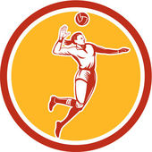 Volleyball Player Spiking Ball Circle Retro — Stock Vector