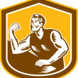 Постер, плакат: Arm Wrestling Champion Woodcut Shield
