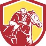 Jockey Horse Racing Shield Retro — Stock Vector #53542315
