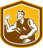 Arm Wrestling Champion Woodcut Shield — Stock Vector