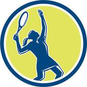 Tennis Player Female Racquet Circle Retro — Stock Vector