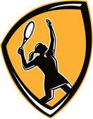 Tennis Player Female Racquet Shield Retro — Stock Vector
