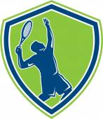 Tennis Player Silhouette Serving Shield Retro — Stock Vector