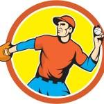 Постер, плакат: Baseball Pitcher Outfielder Throwing Ball Cartoon