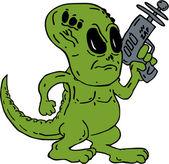 Alien Dinosaur Holding Ray Gun Cartoon — Stock Vector
