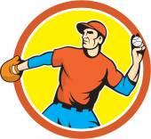 Jardinero de lanzador de béisbol lanzando dibujos animados de bola — Vector de stock
