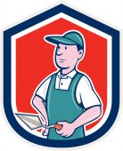 Bricklayer Mason Plasterer Shield Cartoon — Vetorial Stock
