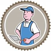 Bricklayer Mason Plasterer Rosette Cartoon — Vetorial Stock