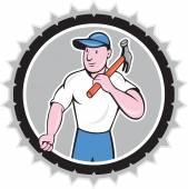 Elinde çekiç rozet karikatür Oluşturucu marangoz — Stok Vektör
