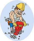 Construction Worker Jackhammer Drilling Cartoon — Stockvector