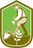 Gardener Landscaper Digging Shovel Cartoon — Vetorial Stock
