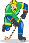 Ice Hockey Player With Stick Cartoon — Stock Vector