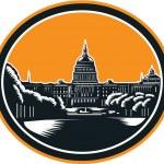 United States Capitol Building Woodcut Retro — Stock Vector #53871651