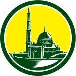 Putra Mosque Woodcut Retro — Stock Vector #53871655