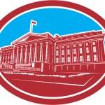 The Treasury Building Washington DC Woodcut Retro — Stock Vector #53871665