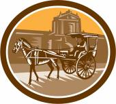 Horse-Drawn Carriage Intramuros Woodcut Retro — Stock Vector