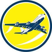 Commercial Jet Plane Airline Circle Retro — Stock Vector