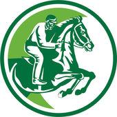 Equestrian Show Jumping Side Circle Retro — Vecteur