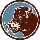 Wild Boar Razorback Head Side Circle Retro — Stock Vector