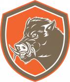 Wild Boar Razorback Head Side Shield Retro — Stock Vector