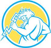 Zeus Wielding Thunderbolt Circle Retro — Stock Vector