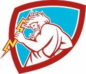 Zeus Wielding Thunderbolt Shield Retro — Stock Vector