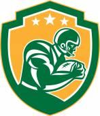 American Football Player Running Shield Retro — Stock Vector