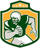 American Football QB Player Running Shield Retro — Stock Vector