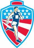 American Marathon Runner Running Shield Retro — Stock Vector