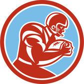 American Football Player Running Circle Retro — Stock Vector