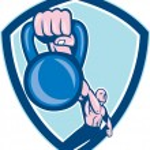 Weightlifter Lifting Kettlebell Shield Cartoon — Stock Vector #54074197