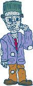 Frankenstein Monster Standing Cartoon — Stock Vector