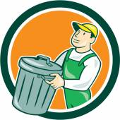 Garbage Collector Carrying Bin Circle Cartoon — Stock Vector