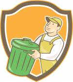 Garbage Collector Carrying Bin Shield Cartoon — Stock Vector