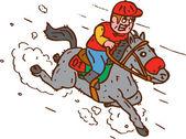 Jockey Horse Racing Cartoon — Stock Vector
