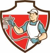 Painter Spray Gun Spraying Shield Cartoon — Stock Vector