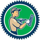 Plasterer Masonry Worker Rosette Cartoon — Stock Vector