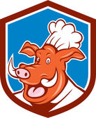 Wild Pig Boar Chef Cook Head Shield Cartoon — Stock Vector