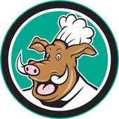 Wild Pig Boar Chef Cook Head Circle Cartoon — Stock Vector