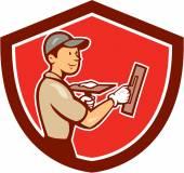 Plasterer Masonry Worker Shield Cartoon — Stock Vector