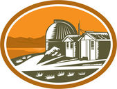 Mt John University Observatory Retro — Stock Vector