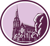 Christchurch Cathedral Woodcut Retro — Stock Vector