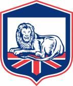 Lion Lying British Flag Shield Retro — Stock Vector