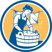 Housewife Washing Laundry Vintage Circle — Stock Vector