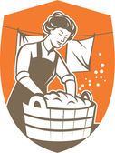 Housewife Washing Laundry Vintage Retro — Stock Vector
