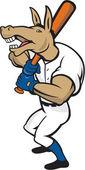 Donkey Baseball Player Batting Cartoon — Stock Vector