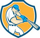American Baseball Player Batting Shield Cartoon — Stock Vector